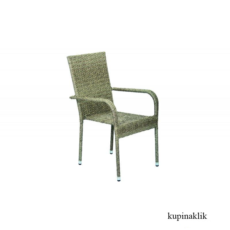 Baštenska stolica od ratana siva Bay