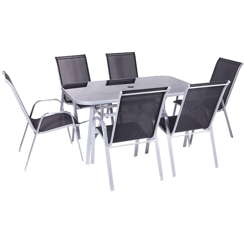 Baštenska garnitura sto i 6 stolica crne Como