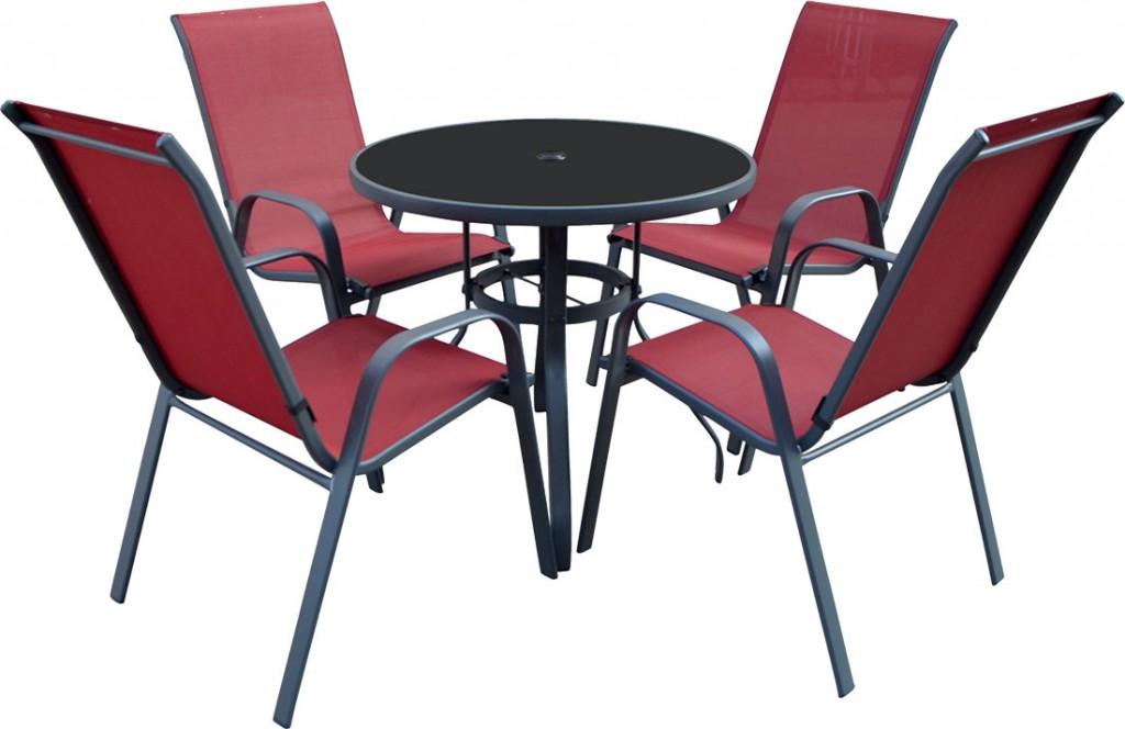 Baštenska garnitura 4 stolice i sto Como crvena